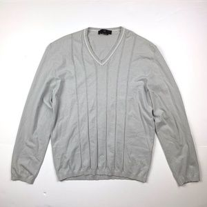 Zegna V Neck Sweater Men sz L Gray